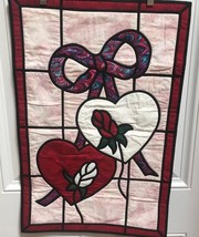 Handmade Quilted Wall Hanging Stained Glass Look Hearts Roses Bow Red Pi... - $14.01