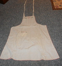 EMBROIDERED APRON WITH FLOWERS WITH RICK RACK VIG - $5.99