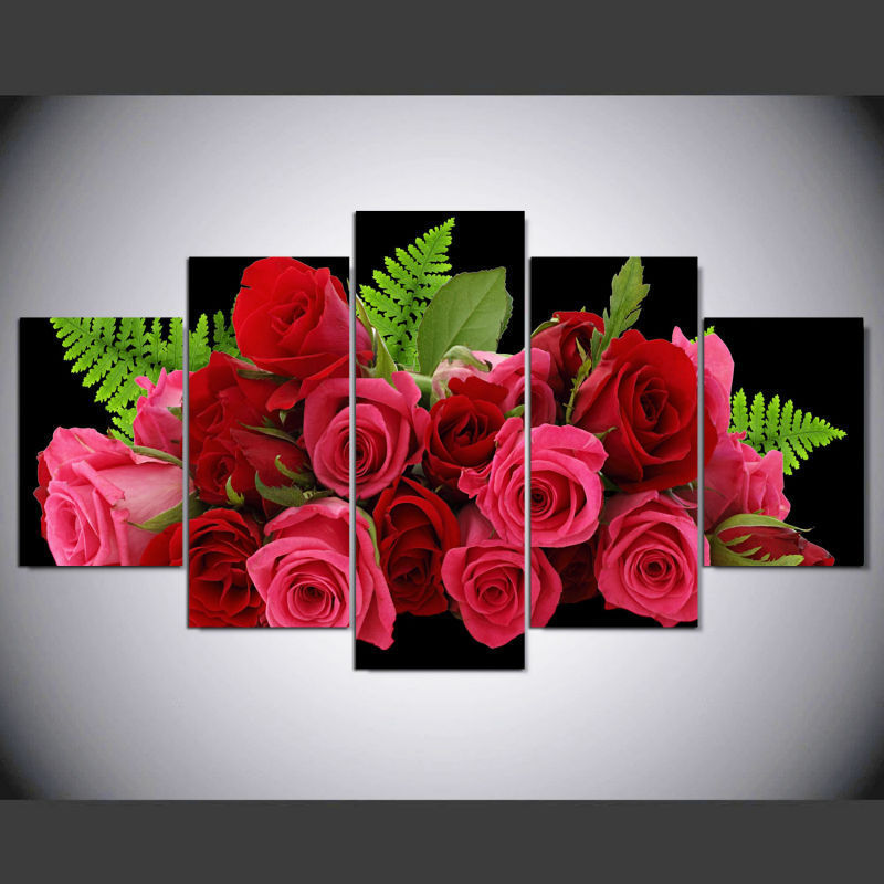 Framed 5 Piece Bunch of red roses Poster HD Canvas Wall Art Home ...