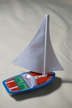 "Two Vintage Sanko Tin Toy Metal New 4"" Mini Yacht Boat Board Made in Japan - $25.69"