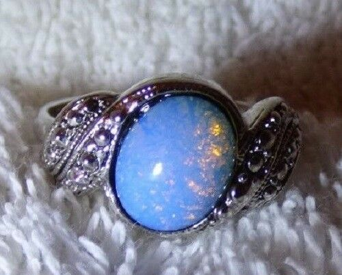 Primary image for Lovely Vintage 1960s-70s Costume OPAL RING Silver Marcasites Size 8 3/4
