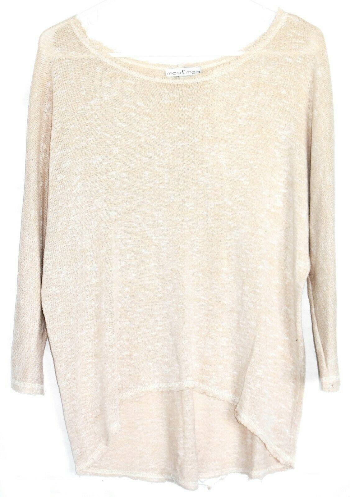 Moa Moa Taupe Tan Cream Textured Knit Long Sleeve Shirt Size S