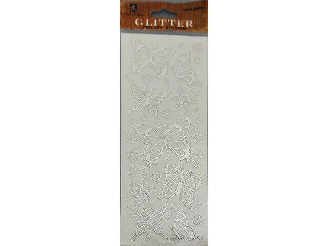 Best Creations Silver Glittered Peel Off Stickers, Butterflies #GGP-030S