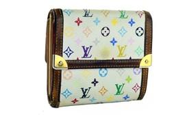 Auth Louis Vuitton Monogram Canvas White Multicolor Trifold Small Wallet... - $147.51
