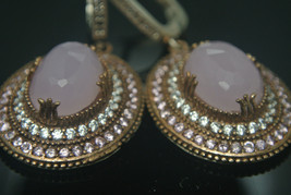 TURKISH OTTOMAN VICTORIAN 925 SILVER 4 CT PINK QUARTZ HURREM DANGLE EARRING - $56.42