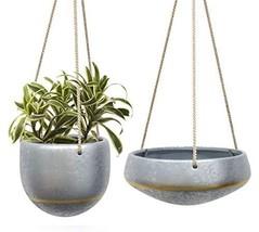 "HangingPlanters Flower Plant Pot - Silver Galvanized Ceramic Shallow 8""... - $41.47 CAD"