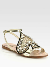 NIB 100% AUTH Miu Miu Glitter Spade Metallic Leather Sandals Sz 36 $695 - $394.02