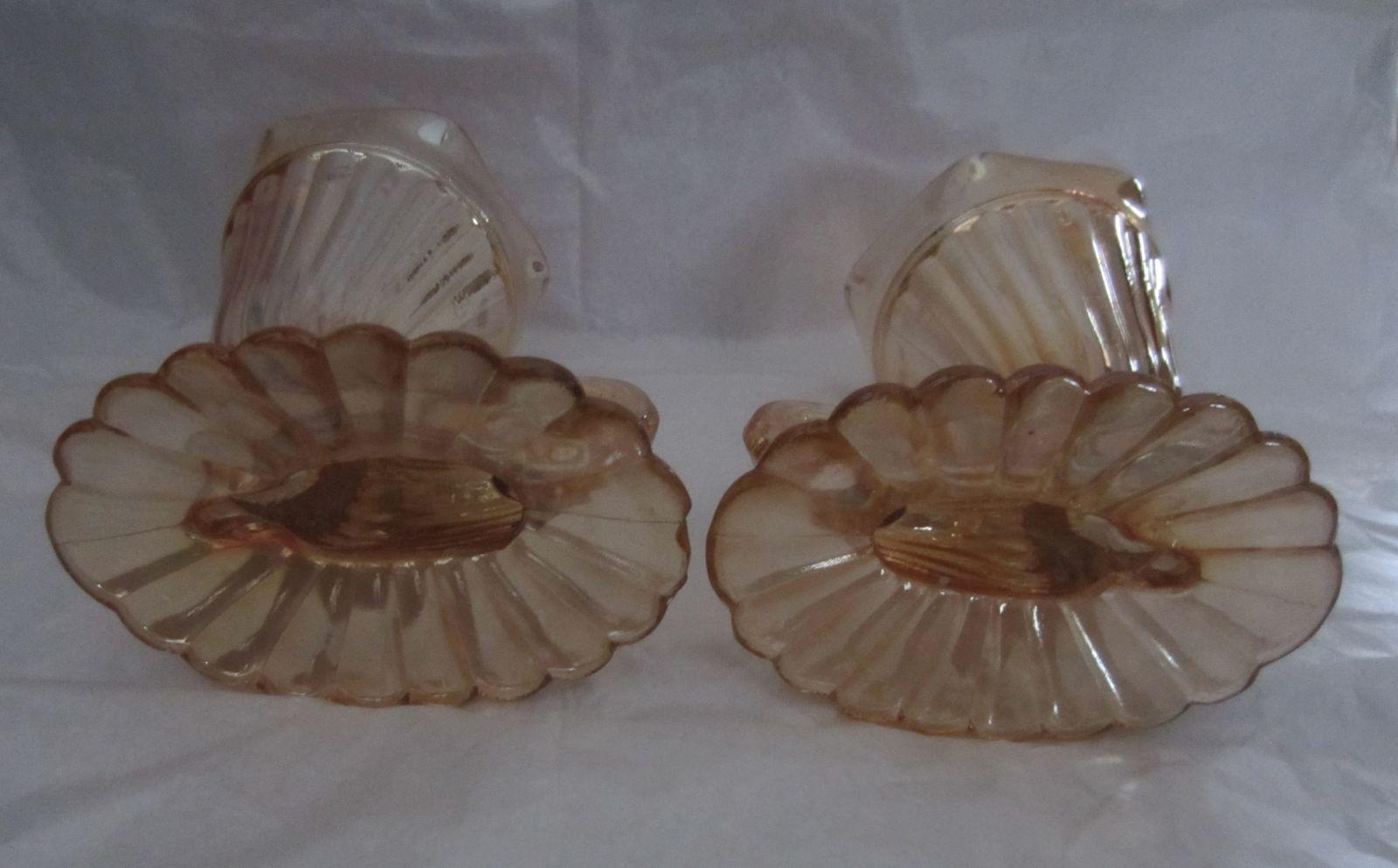 2X Jeanette Carnival Glass Horn Of Plenty Cornucopia Marigold Footed Vases