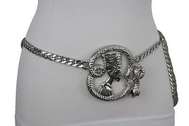 Women Belt Hip High Waist Silver Metal Chain Egyptian King Snake Buckle M L XL - $19.59