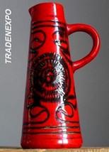Vintage 60-70's BAY KERAMIK Red Vase Pitcher West German Pottery Fat Lav... - $21.77