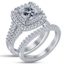 Cushion Cut Diamond Womens Wedding Bridal Ring Set White Gold Finish 925 Silver - $91.99