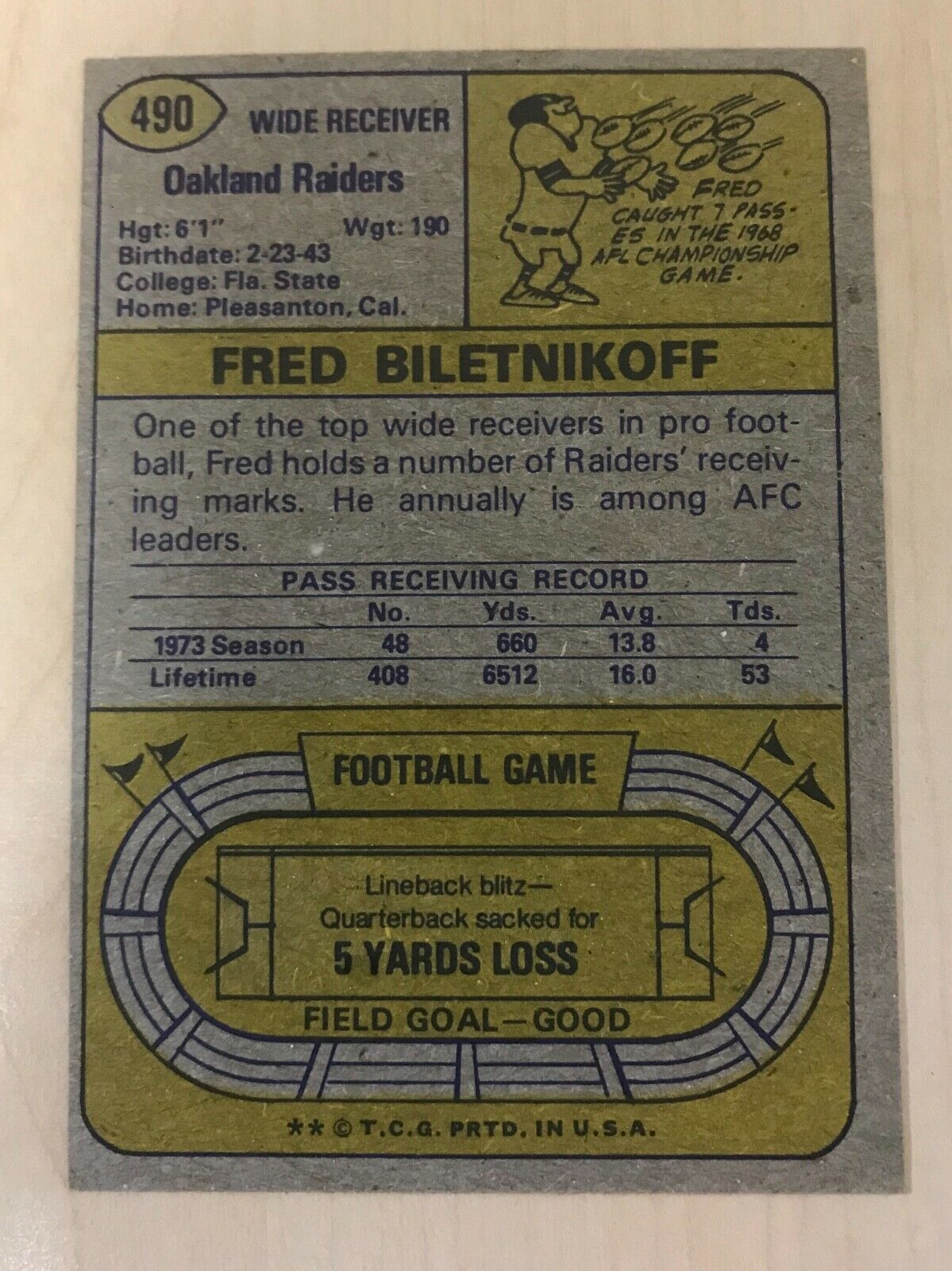 1974 Topps Football #490 Fred Biletnikoff Oakland Raiders HOF