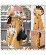 Off The Shoulder Bardot Midi Prom Dress In Mustard Floral - $25.60