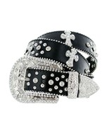 Western Rhinestone Cowgirl Studded Crystal Black Leather Cross Concho Belt - $26.95