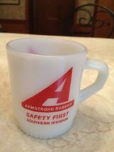 Fire King Milk Glass Vintage Advertising Mug ARMSTRONG RUBBER Safety Fir... - $14.85