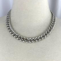 """Napier Silver Tone Curb Cuban Link Chain Collar Necklace Vintage Signed 18"""" - $29.41"""