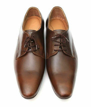 Handmade Men's Brown Leather Lace Up Dress/Formal Oxford Shoes image 2