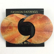 Vintage Chunky Crescent Moon Shaped Earrings 80s 90s NOS Big Boho Statement - $14.80
