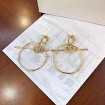 Authentic Christian Dior 2019 CD LOGO LARGE CIRCLE HOOP DANGLE DROP Earrings image 2