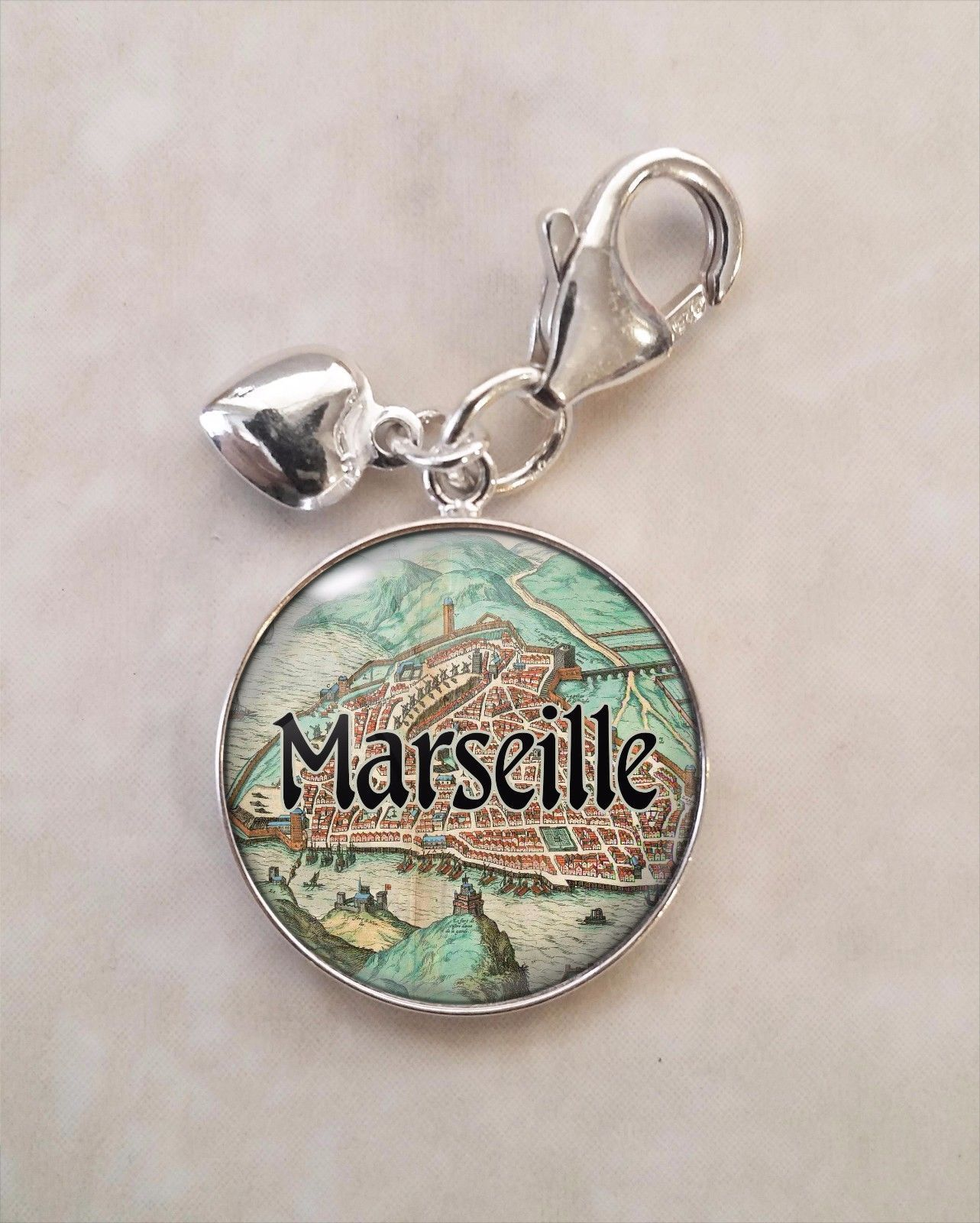 Primary image for France Choose French City Antique Map .925 Sterling Silver Charm