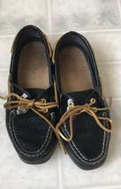 SPERRY Top Sider Sz 5 M Ladies Black Pebbled Patent-Trim Boat/Deck Sneaker Shoe - $31.32 CAD
