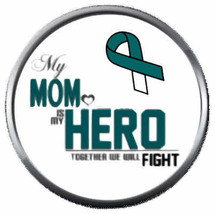Mom Is My Hero Cervical Cancer Teal White Ribbon 18MM-20MM Snap Jewelry Charm - $5.95