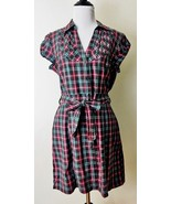 H&M Plaid Dress Size 12 Button Up Belted Pleated Rockabilly Vintage Style - $26.13