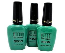 Lot of 3 New Milani Neon Nail Lacquer Polish Fresh Teal #503 Quick Shipp... - $7.69