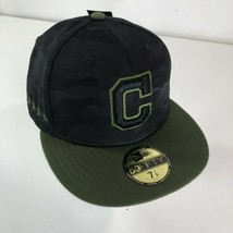 New Era 5950 Cleveland Indians Memorial Day 2018 Fitted Hat Black Camo 7... - $27.71