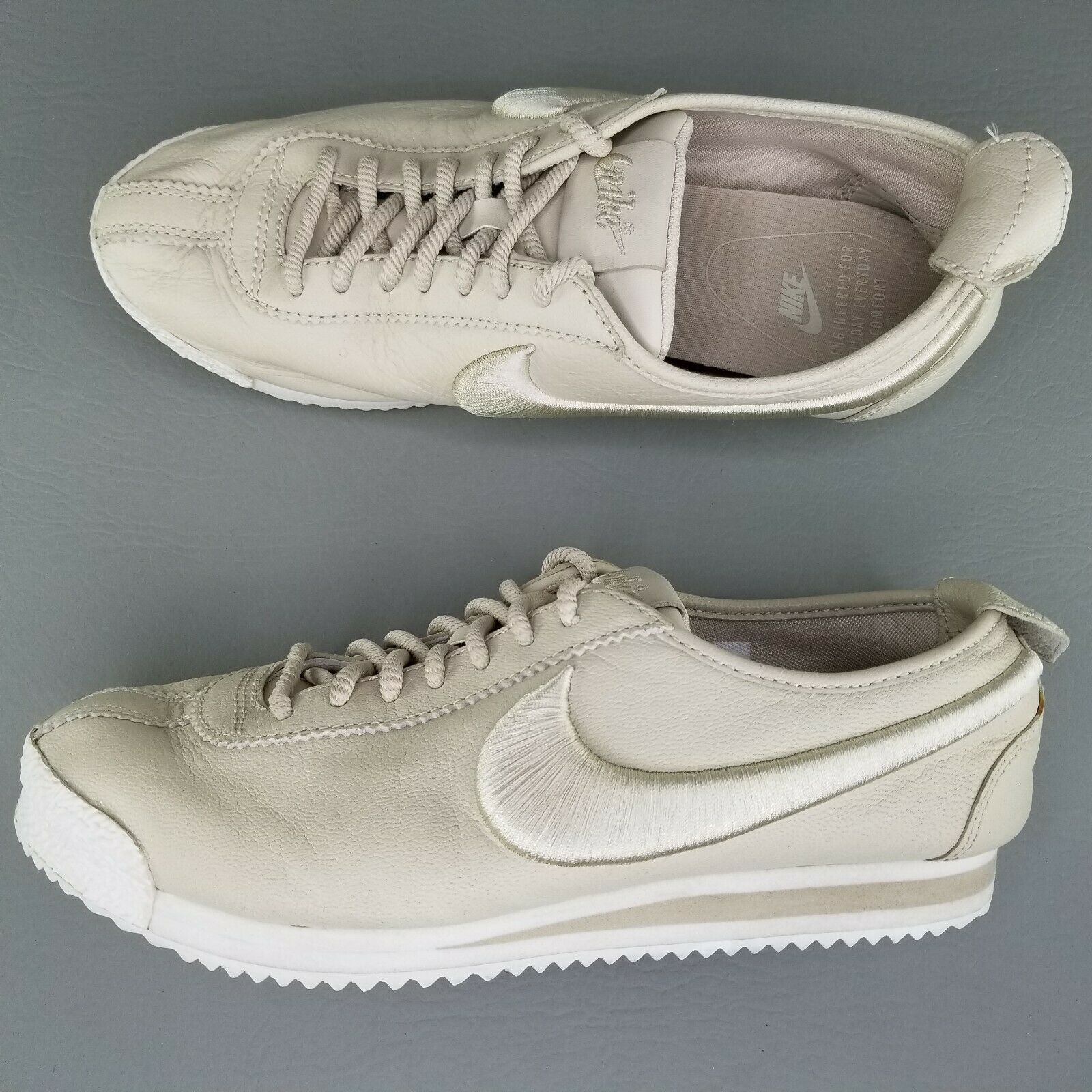 Nike Cortez 72 SI Athletic Shoes Womens Size 8 Leather Sneakers Tan White