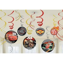 Disney Cars Swirl Hanging Decorations Cut Out Birthday Party Supplies 12 Ct - $6.88