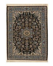 EORC X36037 Hand-knotted Wool Esfahan Rug, 2'5 x 3'2, Blue