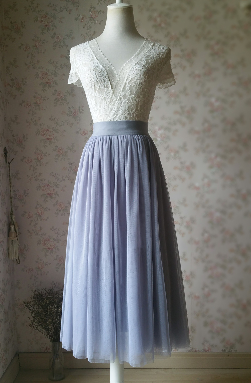 LIGHT GRAY Midi Length Tulle Skirt Tulle Midi Skirt Plus Size Gray Party Skirts