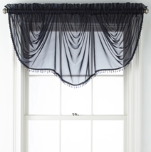 """Home Expressions Lisette Sheer Imperial Beaded Valance 90"""" W X 33 1/2"""" L Navy   - $21.99"""
