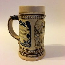 Beer Stein Ceramic Cup German Collectible Mug Vintage #346 1/4L Bar Scene  - $24.00