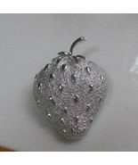 Signed Sarah Coventry Silver-tone Strawberry Brooch  - $15.99