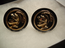 Swank Cuff Links Wooden Black Base with Raised Knight Cameo Gold Colored... - $12.99