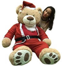 Giant Christmas Teddy Bear 60 Inch Soft, Wears Santa Claus Suit 5 Foot Xmas Bear - $127.11