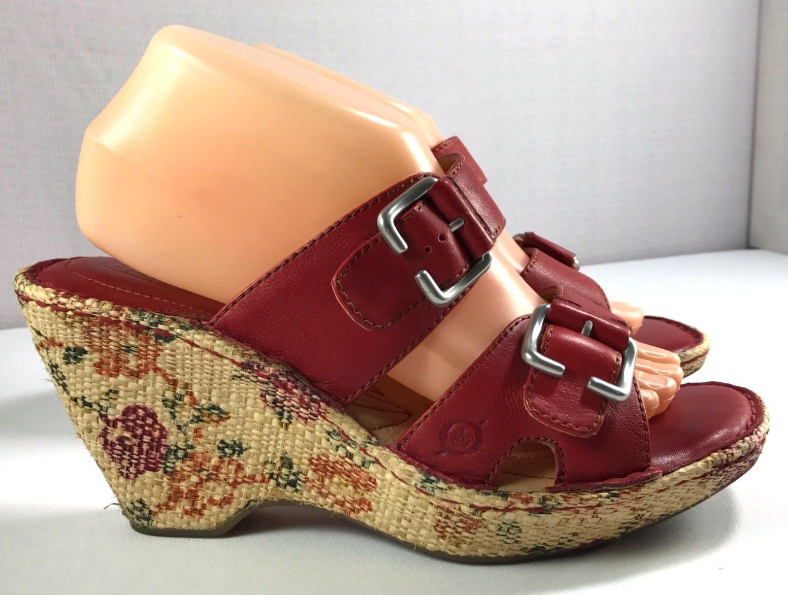 a0454435e Born Sandals Dark Red Leather Floral Print and 50 similar items. S l1600