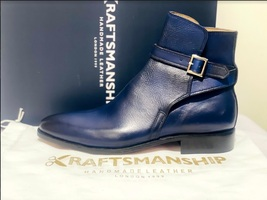 Handmade Men's Blue High Ankle Monk Strap Leather Boot image 6