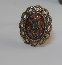 Signed Sarah Coventry Mosaic Adjustable Ring Size 7.5 - $22.28