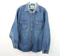 6dfbcd91 Vtg Levis Mens Large Spell Out Long Sleeve Button Front Denim Jean Shirt  Blue - $34.60