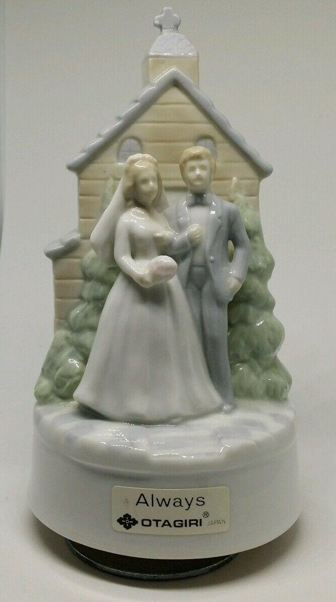 Vintage Otagiri Japan Porcelain Bride & Groom Church Turning Figurine Music Box