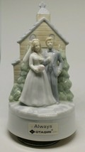 Vintage Otagiri Japan Porcelain Bride & Groom Church Turning Figurine Mu... - $18.52