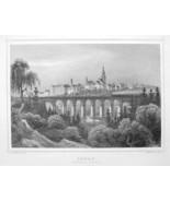 GERMANY City of Lobau in Saxony - 1860 Original Engraving Print - $28.69