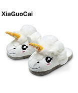XiaGuoCai New Arrival Unicorn Slippers Winter Warm Plush Shoes Indoor Ho... - $23.23 CAD