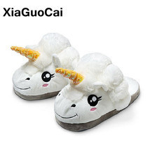 XiaGuoCai New Arrival Unicorn Slippers Winter Warm Plush Shoes Indoor Ho... - €15,66 EUR