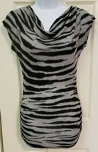 Zebra black and gray Shirt with black lace Size small - $7.87