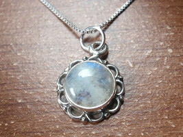 Round Blue Moonstone with Circle Accents 925 Sterling Silver Pendant - $8.90