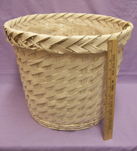 "White Wash Wicker Plant Basket w/ Attached Plastic Liner 13"" Tall - $39.36 CAD"